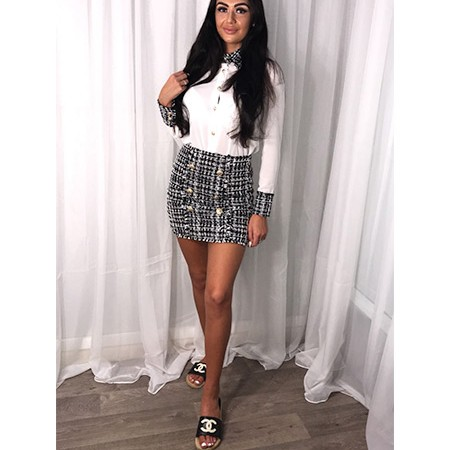 Tweed Blouse and Skirt Set