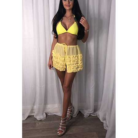 Yellow Frilly Tie Up Skirt