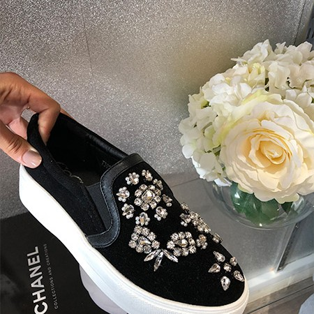 Diamonte Black Suede Platform Trainer