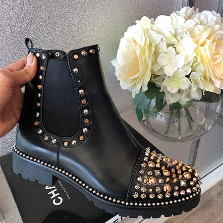 Gold Studded Toe Chelsea Boots