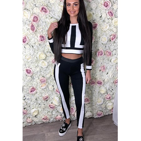 White and Black Striped Zip Up Tracksuit