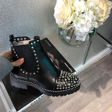 Silver Studded Spiked Zip Up Boot