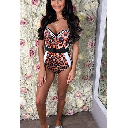 Leopard Print Monochrome Belted Swimsuit