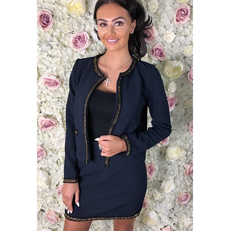 Navy Skirt Suit With Gold Tweed Edge