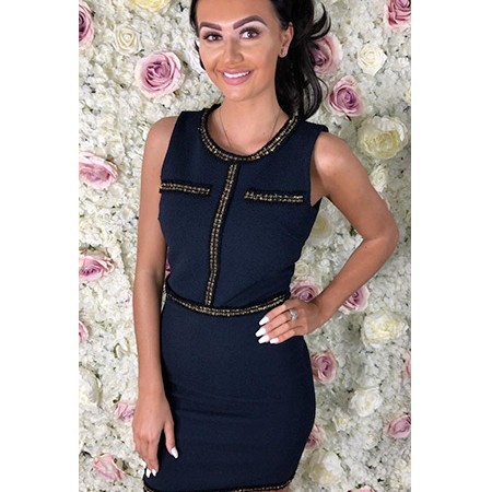 Navy Gold Tweed Edged Dress