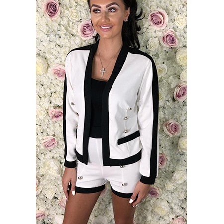 White and Black 2 Piece Jacket and Short Set