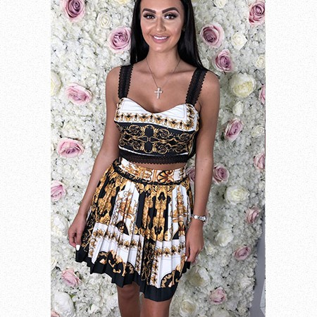 Versace Styled Pleated Skirt Set
