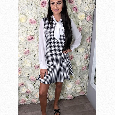 Dogtooth Blouse Dress