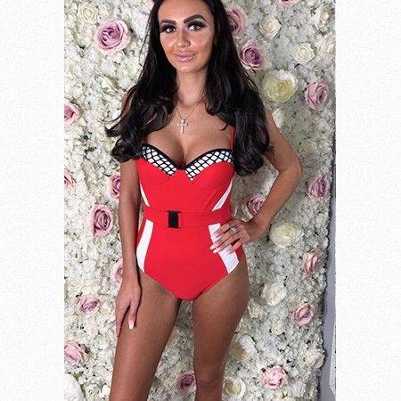 Monochrome Red Belted Swimsuit