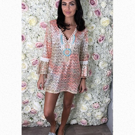 Shimmery Lace Pom Pom Cover Up