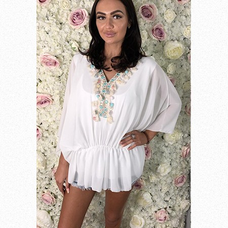 Tasseled and Pom Pom Kaftan Styled Top