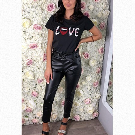 Pu Leather High Waisted Trousers