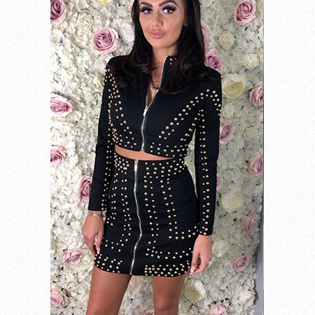 Studded 2 Piece Skirt Set