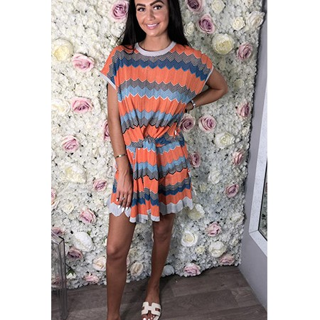 Missoni Style Knotted 2 Piece Short Set
