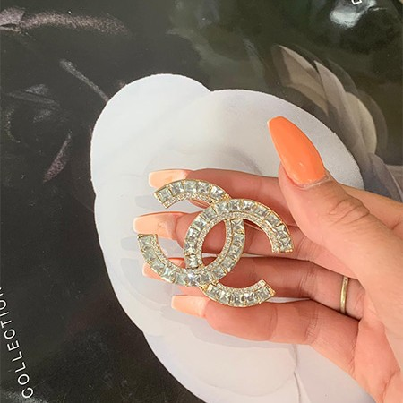 Chanel Inspired Double Diamond Brooch