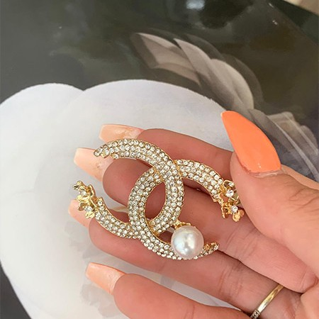 Chanel Inspired Diamond/Pearl Ball Brooch
